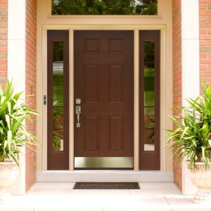 exterior-rectangle-brown-polished-wooden-entry-door-with-steel-handle-and-double-glass-windows-on-ceramics-flooring-and-brick-stone-wall-beautiful-design-of-modern-entry-doors-for-home-brings-wonderfu